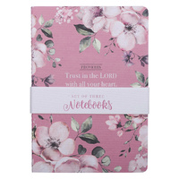 Notebook: Trust in the Lord, Pink/Purple Floral (Proverbs 3:5) (Set Of 3)