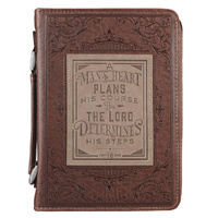A Man's Heart Brown Faux Leather Classic Bible Cover - Proverbs 16:9 (Large)
