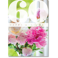Happy 60th Birthday Card - Pink Paeonies