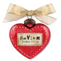 Glass Ornament Vintage Hearts: Savior (Titus 3:5-6)