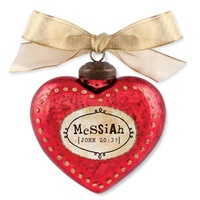 Glass Ornament Vintage Hearts: Messiah (John 20:31)