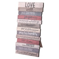 Stacked Word Wall Plaque: Love, Mdf/Paper, Desktop